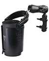 RAM-B-174-132 - RAM Combination Brake/Clutch Reservoir U-Bolt Mount with Level Cup™ Drink Holder & Koozie