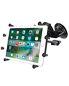 "RAM-B-189-UN9-FRO1-KRU - RAM Dual Suction Cup Mount with Standard Arm, and Universal X-Grip™ Holder for 10"" Tablets"